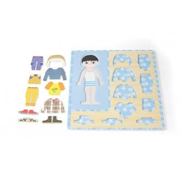 Drewniana ubieranka chłopiec układanka ubranka