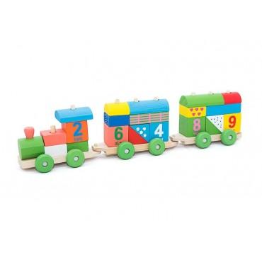 Duży drewniany pociąg klocki kolejka edukacyjna