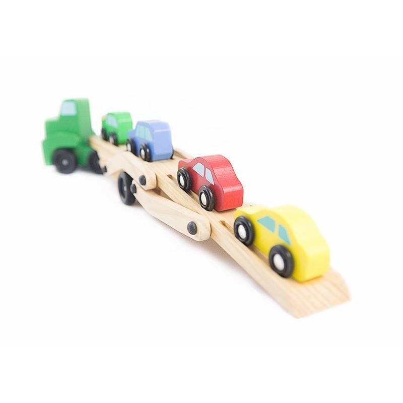 Drewniana ciężarówka laweta z samochodami