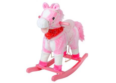 Koń na biegunach 65cm/K4588 - różowy