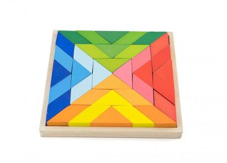 Klocki romby kolorowe tęczowe Montessori