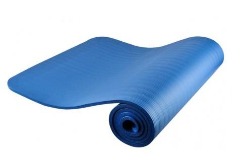 Mata fitness gruba 1 cm z paskiem niebieska