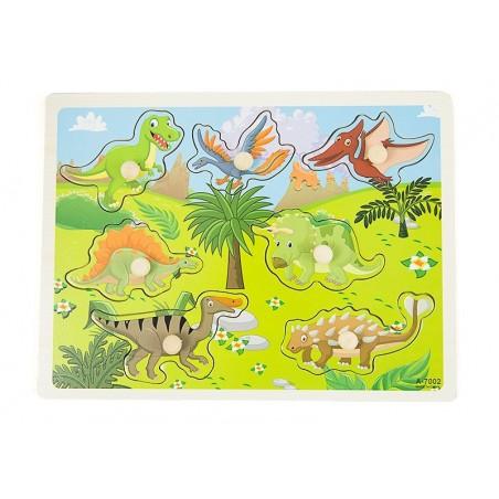 Drewniane puzzle z uchwytami dinozaury 30x23 cm