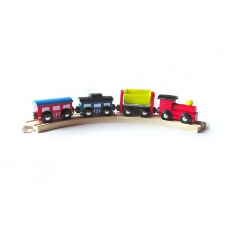Drewniany pociąg do kolejki drewnianej wagoniki na magnesy 2