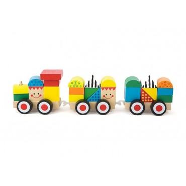 Drewniany pociąg kolejka klocki