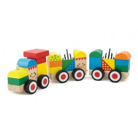 Pociąg kolejka edukacyjna z drewnianymi klockami