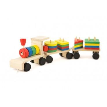 Drewniany pociąg sorter układanka klocki
